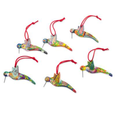 6 Ceramic Ornaments Hummingbird Handcrafted in Guatemala