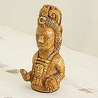 Marble dust figurine, 'Maya Maize God' - Guatemala Handcrafted Marble Dust Maya Maize God Figurine