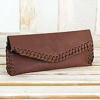 Leather clutch handbag, 'El Salvador Earth' - Artisan Crafted Brown Leather Clutch Purse with Lacings