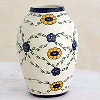 Ceramic vase, 'Margarita Garland' (small) - Artisan Crafted Floral Ceramic Flower Vase (Small)