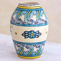 Ceramic vase, 'Bermuda' (small) - Artisan Crafted Floral Ceramic Vase (Small)