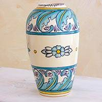 Ceramic vase, 'Bermuda' (medium) - Artisan Crafted Floral Ceramic Vase (Medium)