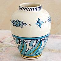Ceramic vase, 'Bermuda Waves' - Hand Crafted Ceramic Vase with Floral and Leaf Motif