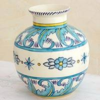 Ceramic vase, 'Bermuda Star' - Artisan Crafted Ceramic Flower Vase in Blue and White