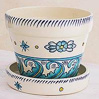 Ceramic flower pot, 'Bermuda' - Artisan Crafted Ceramic Pot with Floral Motif