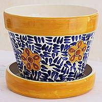 Ceramic flower pot, 'Lirio Acuatico' - Artisan Crafted Ceramic Flower Pot from Guatemala