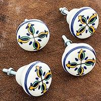 Ceramic knobs, 'Tulipanes' (set of 4) - Hand Crafted Ceramic Floral Knobs (Set of 4)