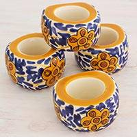 Ceramic napkin rings, 'Lirio Acuatico' (set of 4) - Artisan Crafted Floral Ceramic Napkin Rings (Set of 4)