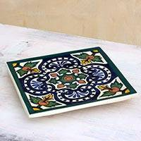 Ceramic trivet, 'Colonial Fountain' - Guatemalan Handcrafted Ceramic Colonial Hot Pad Trivet