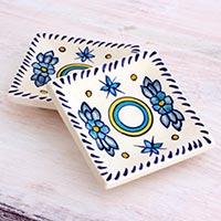 Small ceramic dessert plates, 'Bermuda' (pair) (Guatemala)