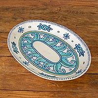 Ceramic platter, 'Bermuda' - Artisan Crafted Oval Ceramic Platter with Floral Motif