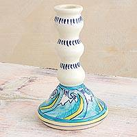 Ceramic candlestick, 'Quehueche' - Handcrafted Floral Ceramic Candlestick from Guatemala