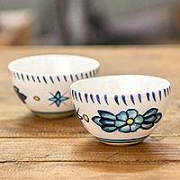 Small ceramic bowls, 'Bermuda' (pair) - Artisan Crafted Ceramic Floral Bowls (Pair)
