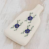 Ceramic spoon rest, 'Margarita Chef' - Hand-Painted Floral Ceramic Spoon Rest from Guatemala
