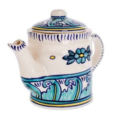 Ceramic coffee pot, 'Quehueche' - Turquoise and White Ceramic Artisan Crafted Coffee Pot