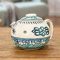 Ceramic teapot, 'Quehueche' - Ceramic Artisan Crafted White and Turquoise Teapot