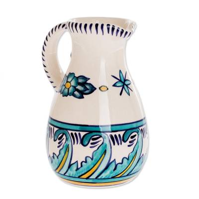 Artisan Crafted Turquoise Ceramic 21-Ounce Pitcher