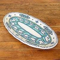 Ceramic serving platter, 'Quehueche' - Floral Ceramic Serving Platter Crafted in Guatemala