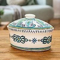 Ceramic oval covered casserole, 'Quehueche' - Ceramic Handcrafted Oven-Safe Oval Casserole Dish and Lid