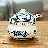 Ceramic sugar bowl and spoon, 'Quehueche' (Guatemala)