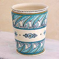 Ceramic flower pot, 'Quehueche' - Flower Pot Handcrafted in Turquoise and White Ceramic