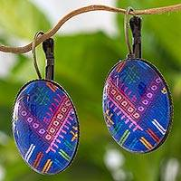 Brass and glass drop earrings, 'Antique Chichicastenango Blues' - Maya Theme Blue Drop Earrings Handcrafted in Guatemala