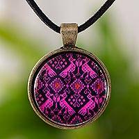 Brass and glass pendant necklace, 'Antiqued Pink Nahuala Birds' - Pink and Black Maya Theme Round Pendant Necklace