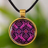 Brass and glass pendant necklace, 'Golden Pink Nahuala Birds' - Pink and Black Maya Theme Round Pendant Necklace