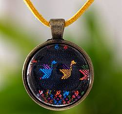 Brass and glass pendant necklace, 'Maya Birds of Toliman' - Free Trade Pendant Necklace with Circular Bird Pendant