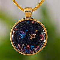 Brass and glass pendant necklace, 'Birds of Toliman' - Bird Theme Brass and Glass Pendant Necklace from Guatemala