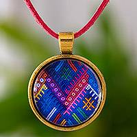 Brass and glass pendant necklace, 'Golden Chichicastenango Moon' - Guatemala Handcrafted Necklace with Maya Weaving Theme