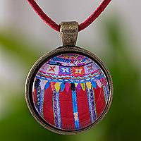 Brass and glass pendant necklace, 'Antique Patzun Floral Moon' - Maya Floral Huipil Theme Handcrafted Pendant Necklace
