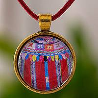 Brass and glass pendant necklace, 'Golden Patzun Floral Moon' - Guatemalan Maya Brass and Glass Pendant Necklace in Red