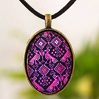 Brass and glass pendant necklace, 'Pink Birds of Nahuala' - Handcrafted Pink and Black Maya Theme Pendant Necklace