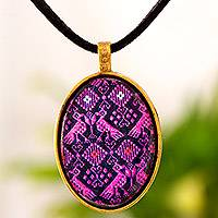 Brass and glass pendant necklace, 'Birds of Nahuala' - Maya Pink and Black Textile Print Brass Pendant Necklace