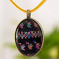 Brass and glass pendant necklace, 'Oval Maya Birds of Toliman' - Oval Bird Pendant Free Trade Necklace