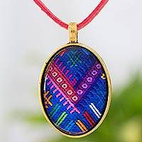 Brass and glass pendant necklace, 'Golden Chichicastenango Blues' - Handcrafted Necklace with Guatemalan Maya Weaving Theme