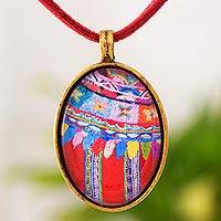 Brass and glass pendant necklace, 'Golden Patzun Flowers' - Guatemalan Brass and Glass Pendant Necklace in Red