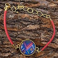 Brass and glass cord bracelet, 'Golden Chichicastenango Moon' - Guatemala Handcrafted Bracelet with a Maya Weaving Theme