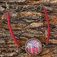 Brass and glass pendant bracelet, 'Antique Patzun Flowers' - Maya Huipil Theme Red Cord Bracelet from Guatemala