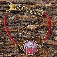 Brass and glass pendant bracelet, 'Golden Patzun Flowers' - Guatemalan Brass and Glass Bracelet in Red
