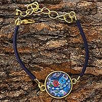 Brass and glass pendant bracelet, 'Golden Patzun Blooms' - Fair Trade Round Brass and Glass Floral Medallion Bracelet