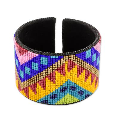 Bright Beaded Leather Cuff Bracelet from Guatemala