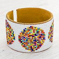 Beaded leather cuff bracelet, 'Fiesta in Santiago' - Handcrafted Leather Cuff Bracelet with Colorful Beads