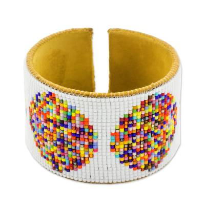Handcrafted Leather Cuff Bracelet with Colorful Beads