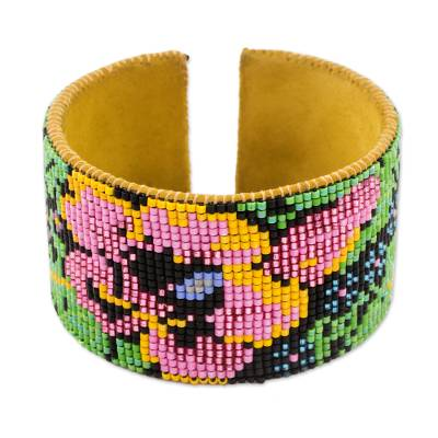 Handcrafted Floral Beaded Leather Cuff Bracelet