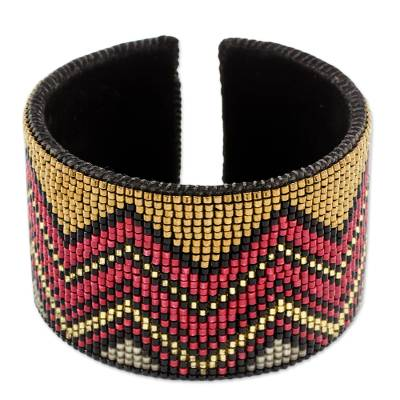 Red and Caramel Beaded Zigzag Cuff Bracelet with Black