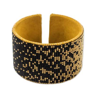Contemporary Beaded Cuff Bracelet in Black and Golden Brass