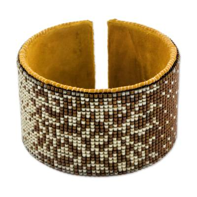 Contemporary Beaded Cuff Bracelet in Beige and Chestnut