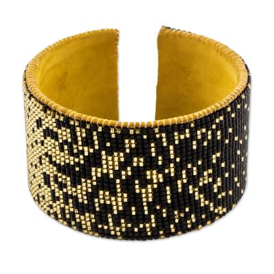 Contemporary Black and Ochre Hand Beaded Cuff Bracelet